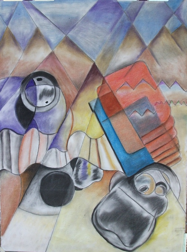 Bag, Book, and Bottle in a Landscape, Pastel Chalk on Paper, Howard Bosler, 2010.