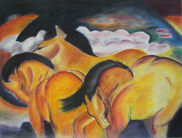 Pastel Drawing after a painting by Franz Marc, The Three Yellow Horses.