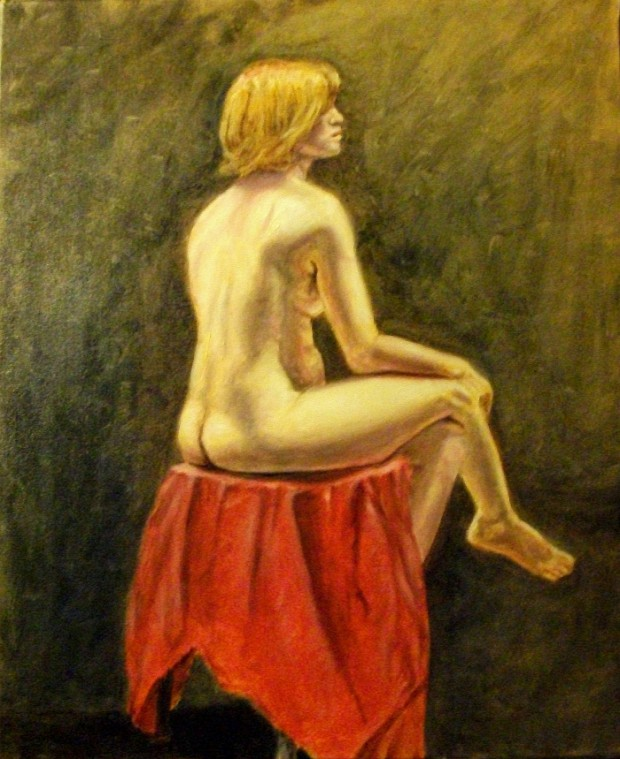 Studio painting in the manner of the Impressionists such as Renoir, Howard Bosler.