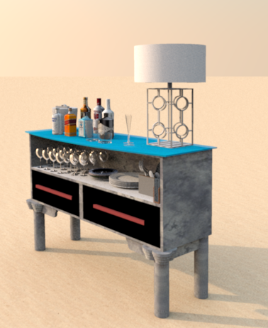 Bar with glass top by Howard Bosler 2014