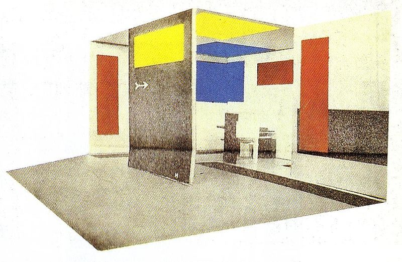 Space-Colour-Composition for the Grosse Berliner Kunstausstellung in Berlin (Maquette), G. Rietveld and V. Huszar, 1923.