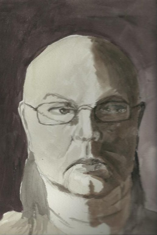 Self-Portrait in Payne's Grey Watercolor.