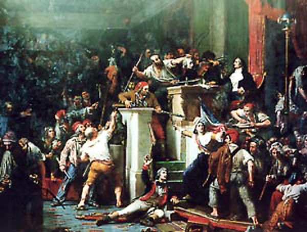 François Antoine de Boissy d'Anglas standing up to the mob, Oil on Canvas, Decoration for the Chamber of Deputies, Auguste Vinchon, 1830.