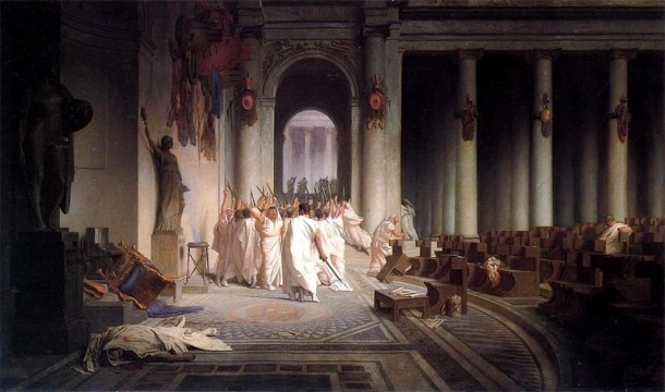 The Death of Caesar, Oil on Canvas, Walters Art Museum, Jean-Leon Gerome, 1867.