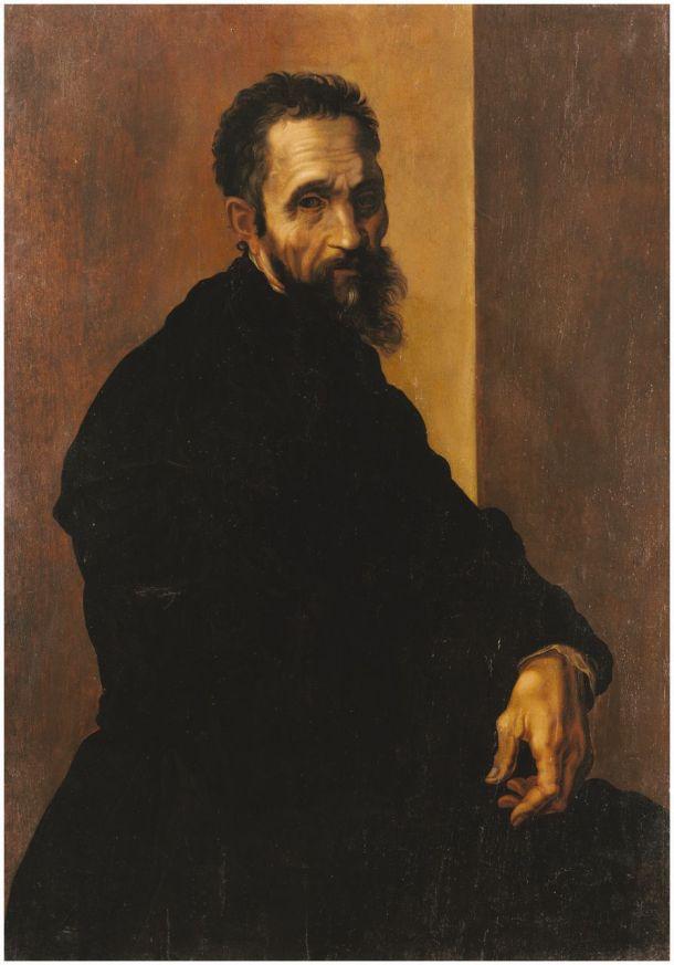Portrait of Michelangelo Buonarroti, Oil on Wood Panel, Jacopino del Conte, 1535.