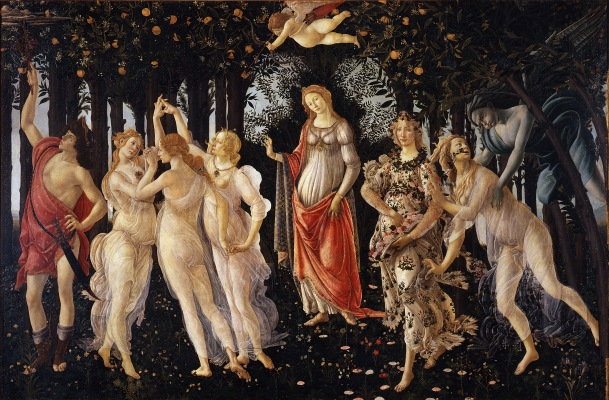 La Primavera, Tempura on Wood Panel, Ufizzi Gallery, Sandro Botticelli, (Late 1470s or Early 1480s).