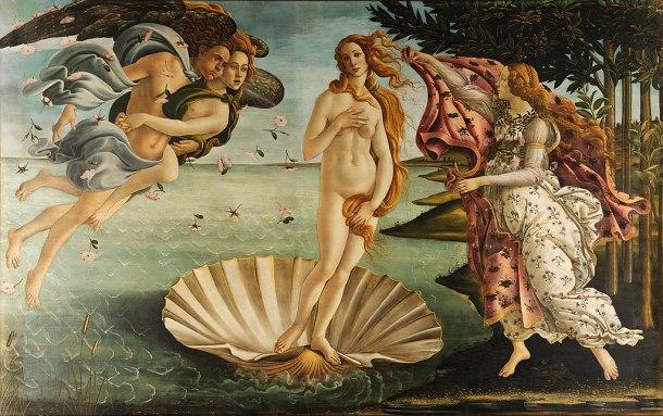 The Birth of Venus, Tempura on Canvas, Uffizi Gallery, Botticelli, 1486.