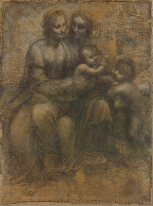 The Virgin and Child with St. Anne and St. John the Baptist, Cartoon, Charcoal, Black and White Chalk on Tinted Paper, National Gallery, London, Leonardo da Vinci, Somewhere Between 1499 and 1506.