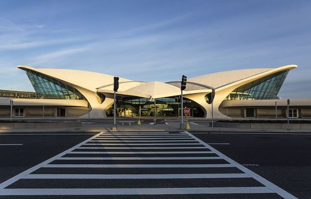 Transworld Airlines Flight Center, JFK Airport, New York City, Eero Saarinen, Opened in 1962.