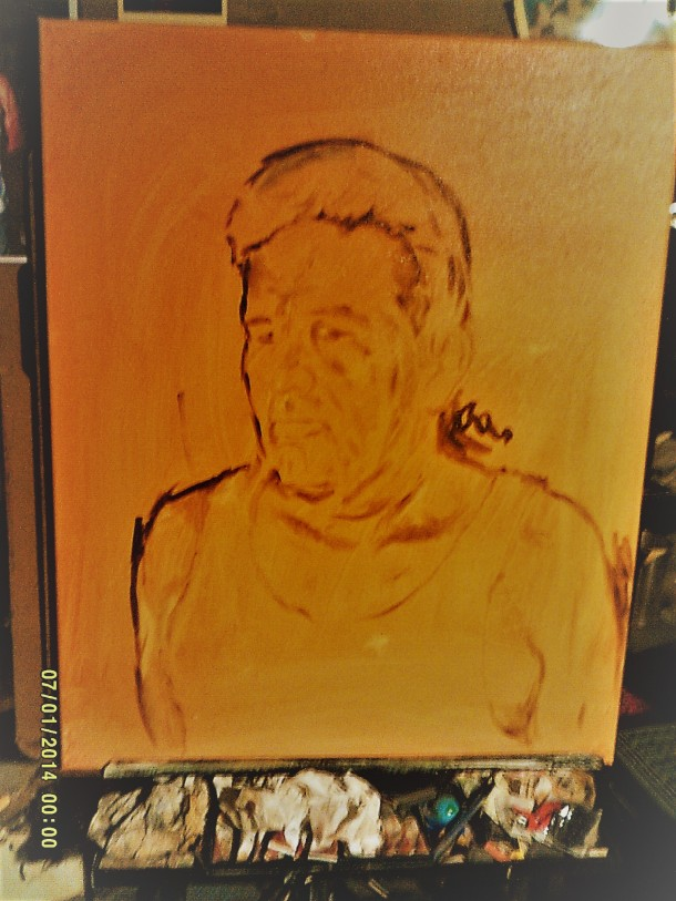 The Image Sketched with Van Dyke Brown.