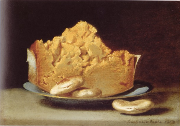 Cheese with Three Crackers. Oil on Canvas, Raphaelle Peale, 1813.