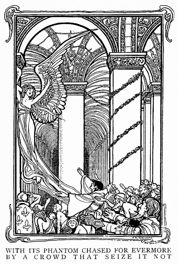 Illustration for The Conqueror Worm, Illustrated by W. Heath Robinson. 1900.