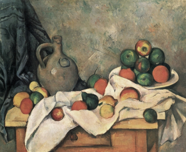 Still Life, Drapery, Pitcher, and Fruit Bowl, Oil on Canvas, Paul Cezanne,1893–1894.