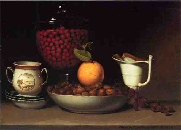 Strawberries, Nuts, and Citrus, Oil on Canvas, Raphaelle Peale, 1822.