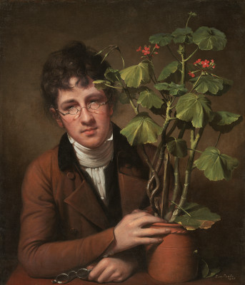 Rubens Peale with Geranium, Oil on Canvas, National Gallery of Art, Washington DC, Rembrandt Peale, 1801.