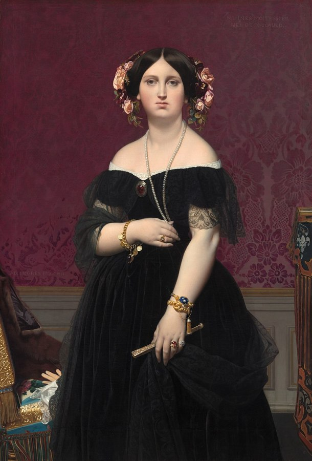 Madame Moitessier Standing Portrait, Oil on Canvas, National Gallery of Art, Washington DC, Ingres, 1851.