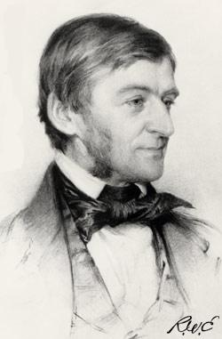 Sketch of Ralph Waldo Emerson by Samuel Worcester Rowse, Printed in 1878 by SA Schoff.