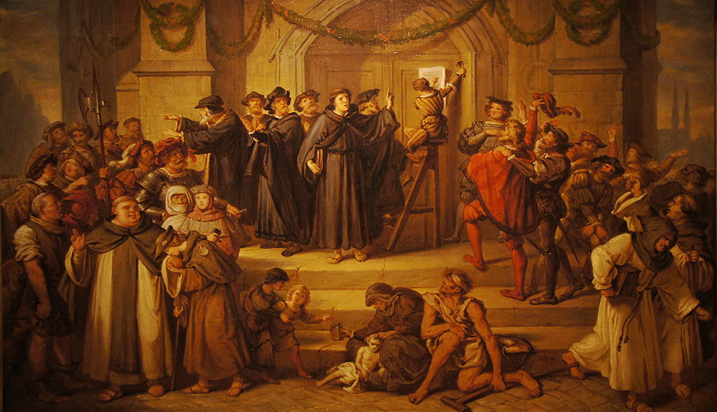 Martin Luther Posting the 95 Thesis on the Castle Church in Wittenberg.